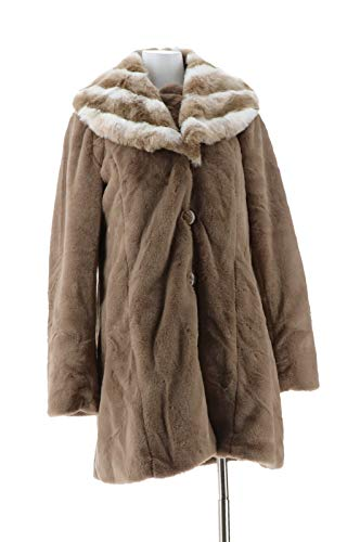 Dennis Basso Faux Fur Coat Removable Hood Collar Taupe XXS New A286325 from Dennis Basso