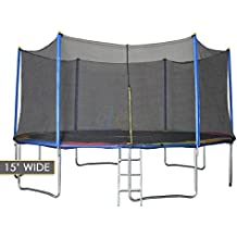 """Clevr Outdoor Trampolines with Safety Enclosure Net & Spring Pad, Sizes: 36"""" / 55"""" / 7' / 12' / 15'"""