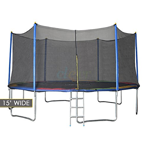 Clevr 15 ft Trampoline with Safety Enclosure Net & Spring Pad, Ladder, Outdoor Round Bounce Jumper 15', Unique Rainbow pad Cover