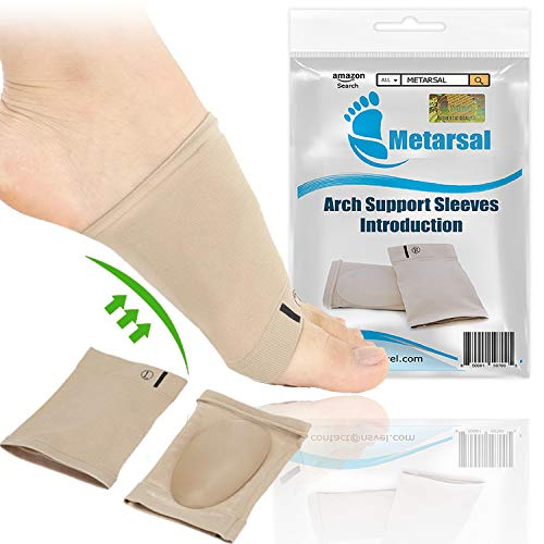 Metarsal Compression Arch Support Sleeves Sock with Comfort Gel Pad Cushions for Women & Men - Arch Brace for Flat Feet, Plantar Fasciitis Sleeves Shoe Insert Insole, Helps Foot Pain Relief, Set of 2 ()
