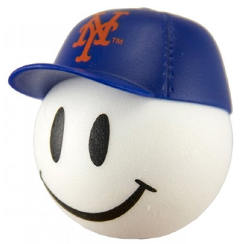 HappyBalls Quantity 3 pcs Pack - Collectible - 2 New York Mets Baseball Car Antenna Topper/Rear View Mirror Dangler/Mirror Hanger/Auto Accessories + Free Yellow Smiley Ball