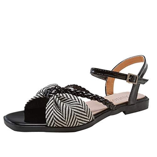 Effulow Womens Platform Sandals Open Toe Shoes Roman Wild Casual Shoes Black