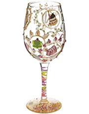 """Designs by Lolita """"Queen For a Day"""" Hand-painted Artisan Wine Glass, 15 oz."""