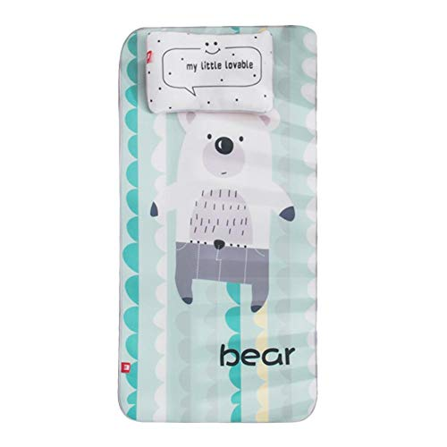 (Baby Ice Silk Mat with Pillow Set - Summer Cool Breathable Mat Baby Bed Pad, Kindergarten Sleeping Kids Mat, Cute Cartoon Crib Mattress for Newborn Toddler Bed, 23.6x47.2 inches)