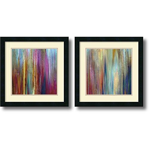 - Framed Art Print, 'Sunset Falls- set of 2' by John Butler: Outer Size 18 x 18