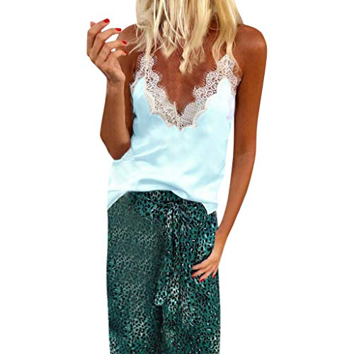 KCPer Women's Summer Lace Sexy V-Neck Lace Up Patchwork Sleeveless Chiffon Tank Tops Blouse Floral Print Henley Tank Tops Blouse (Light Blue, S) ()