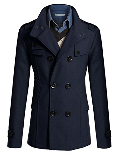 Sorrica Mens Classic Wool Blend Double Breasted Pea Coat (US Small, (Us Navy Style Mens Peacoat)