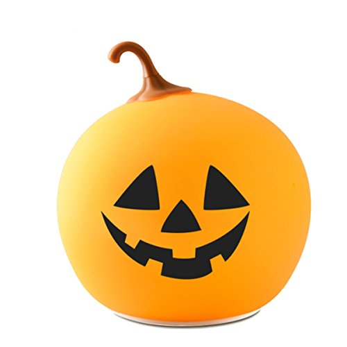 Pumpkin Silicone Night Light, Soft Halloween Lamp Rechargeable
