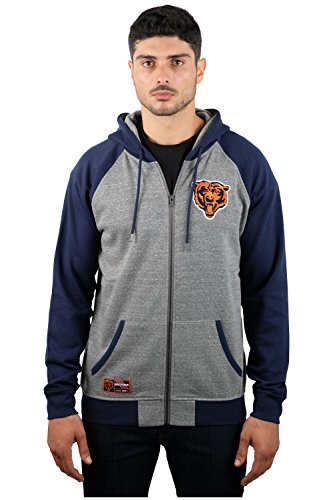 NFL Men's Chicago Bears Full Zip Fleece Hoodie Sweatshirt Jacket Contrast Raglan, X-Large, Gray (Bears Sweatshirt Fleece)