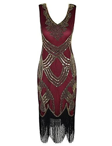 PrettyGuide Women's 1920s Gatsby Art Deco Beads Fringed Cocktail Flapper Dress M Gold Burgundy -