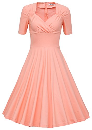 MUXXN Womens 50s Retro Solid Patchwork Pleated Swing Dress (XL Pink)