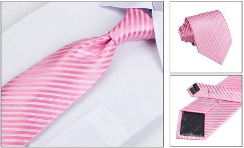 Coffret Cadeau Ensemble Cravate homme, Mouchoir de poche, épingle et boutons de manchette Rayures Rose