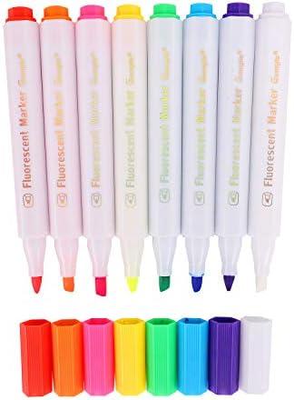 8 قطع قلم طباشير ملون مبلل ألوان متنوعة حبر سائل غير سام أقلام تحديد للتلوين على شكل لوحة سوداء مضيئة بمصباح Led ورسالة لوحة زجاجية وقائمة Amazon Ae