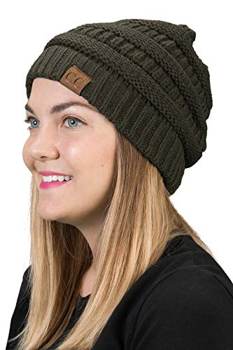 Funky Junque H-6020a-33 Solid Ribbed Beanie - Olive