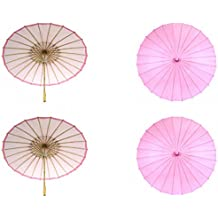 Koyal Wholesale 32-Inch Paper Parasol, 4-Pack Umbrella for Wedding, Bridesmaids, Party Favors, Summer Sun Shade (4, Pink)