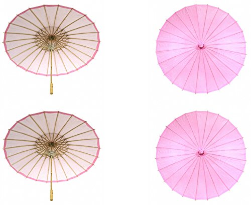 (Koyal Wholesale 32-Inch Paper Parasol, 4-Pack Umbrella for Wedding, Bridesmaids, Party Favors, Summer Sun Shade (4,)