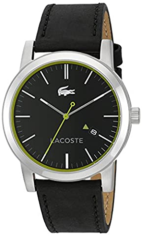 Lacoste Men's 'METRO' Quartz Resin and Leather Casual Watch, Color:Black (Model: 2010847) (Classy Sports Watch)