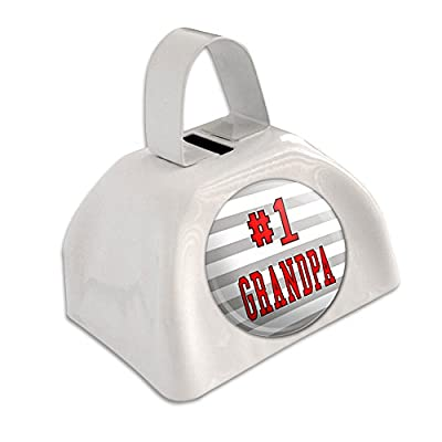 #1 Grandpa Number One Grandfather White Cowbell Cow Bell