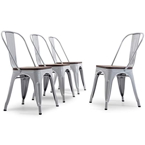 (Belleze Metal Industrial Stackable Bistro Dining Chairs Set of 4 Wood Seat Cafe Bar Home Stool Modern Style Silver)