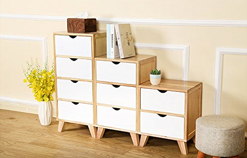 Jerry & Maggie - Nightstand - 2 Tier Curving Pattern Sides Night Stand Storage Bedside Table with 2 Drawer Real Natural Paulownia Wood (2 Tier | Cubric Style) by Jerry & Maggie (Image #7)