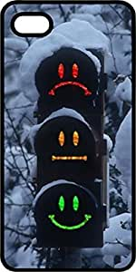 Snow Covered Stop Light With Faces Black Plastic Case for Apple iPhone 5 or iPhone 5s