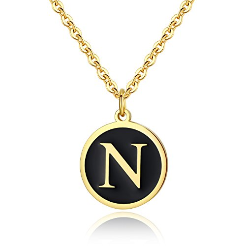 REVEMCN Stainless Steel Alphabet and Bible Verse Proverbs 4:23 Pendant Necklace for Men Women with Keyring and 22'' Chain (Gold-Tone: N) (Gold Tone Chains For Men)