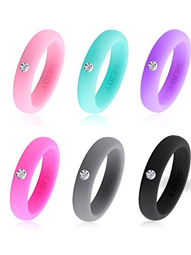 Gejoy 6 Pieces Women Silicone Rings Silicone Wedding Rings Wedding Band with Rhinestone, Singles Wedding Bands Silicone Ring Set, Workout Rings for Women and Men, 5 mm Wide (Size 8/18.2 mm Diameter)