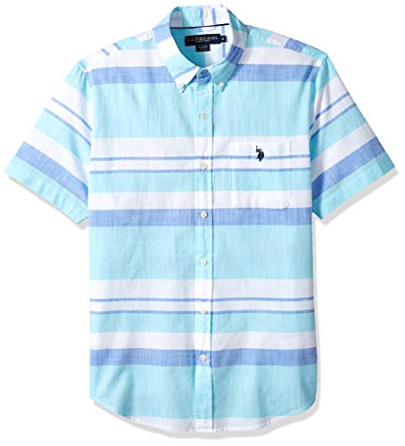 U.S. Polo Assn. Men's Short Sleeve Striped Sport Shirt, Painters Aqua, S