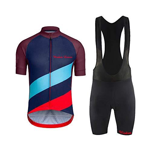 Men's Short Sleeves Cycling Jersey Set Bike Shirt with 3D Gel Padded Shorts MTB Road Bike Cycling Clothing Set ()