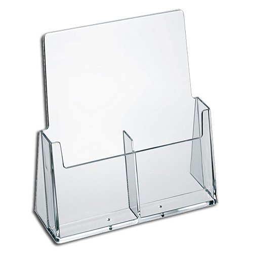 Marketing Holders Brochure Holder Wall Mount 2 Pocket Trifold Holds 4x9 Literature Acrylic Clear Lot of 10 by Marketing Holders