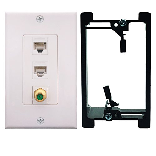 Cat6 Coax 1 Gang Wall Plate with Single Gang Low Voltage Mounting Bracket,Yomyrayhu, 2 x Cat6 Female to Female RJ45 Ethernet,1 x 3Ghz Brass Plated with Gold F81 Coax