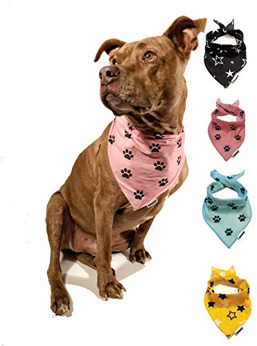 Bandana Large to Medium to Small | 100% Cotton Washable Triangle Scarfs for Dogs and Pets (Large 30