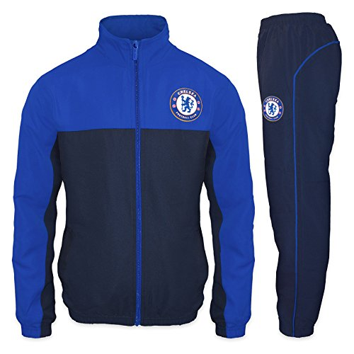 Chelsea FC Official Soccer Gift Mens Jacket & Pants Tracksuit Set Small Blue