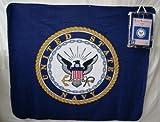 "US NAVY LOGO BLANKET - - UNITED STATES NAVY LOGO - USN - 50""x60"" Deluxe Polar Fleece Blanket"