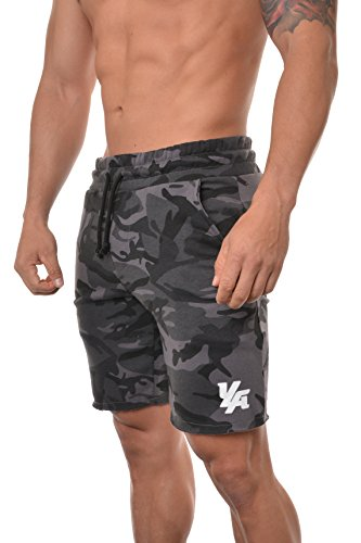 YoungLA Gym Shorts for Men French Terry Cotton Workout Casual Athletic Basketball with Pockets 112 (X-Large, Camo Black) ()