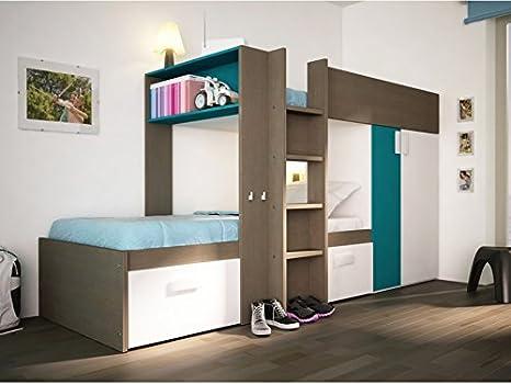 Set Etagenbett Julien : Kinderbett hochbett etagenbett julien cm taupe blau