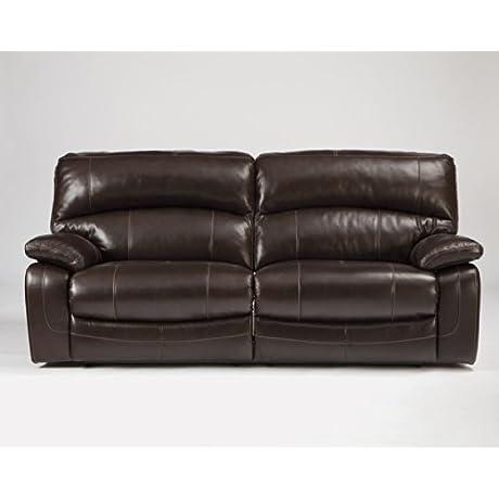 Ashley Furniture Signature Design Damacio Manual Recliner Sofa 1 Pull Reclining Leather Interior Dark Brown