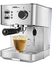 LIVINGbasics 2 in 1 Espresso Machine with Milk Frother, Cappuccino Maker, Latte Maker, 15 Bar Espresso Coffee Maker, 51-Ounce, Silver