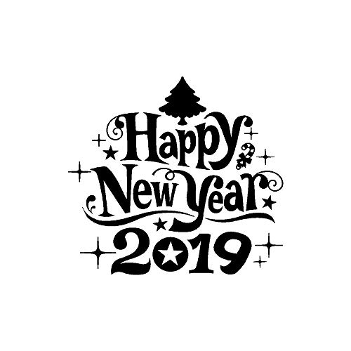 MiniPoco 2019 New Year Merry Christmas Wall Sticker Creative Wallpaper Home Restaurant Mall Shop Glass Windows Decals Decor 36 x 40cm/14x15.7inch (Black)