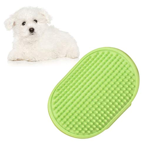 Sendk Pet Grooming Silicone Brush, Cat Gentle Green Deshedding Massage Comb for Loose Hair Removal,12.59cm