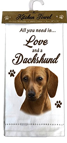 E&S Pets 700-13 Dachshund, red Kitchen Towels, Off- Off-white