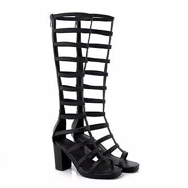 LvYuan Mujer Sandalias Confort PU Primavera Casual Confort Blanco Negro 5 - 7 cms Black