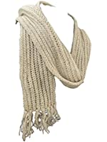 Toasty Warm Chunky Knit Hand knitted Fair Trade Cream Scarf with Pocket 100% Wool