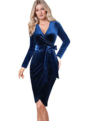 blue velvet dress long sleeve - 9