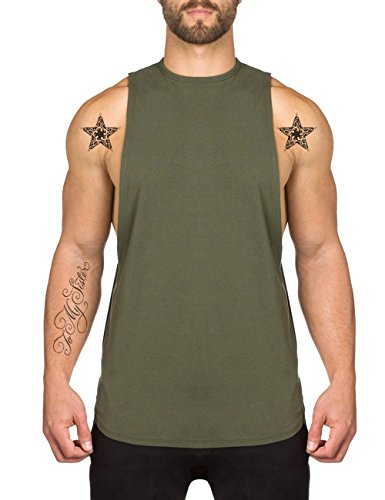 Mens Fitness Workout Tank Tops Gym Cotton Tshirts Sleeveless Army Green Medium ()