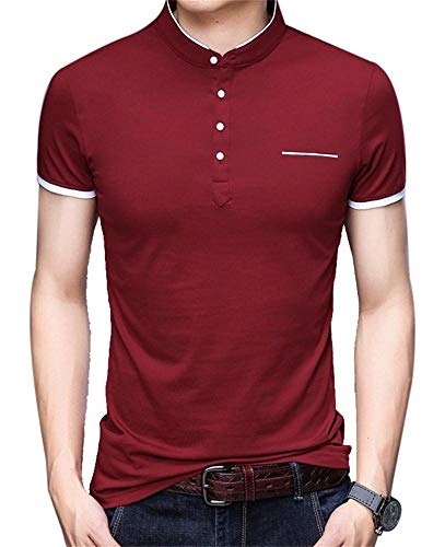 CMLT Mens Summer Slim Fit Pure Color Short Sleeve Polo Fashion T-Shirts Casual Henley Shirts
