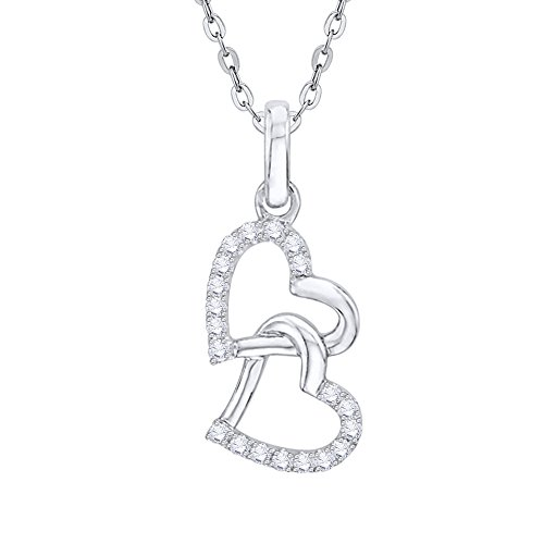 KATARINA Diamond Double Heart Pendant Necklace in Sterling Silver (1/8 cttw, G-H, I2-I3) ()