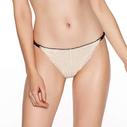 Eve's temptation Bella Floral Sheer Lace Comfortable Bikini Panties Underwear for Women - Ivory Large ()