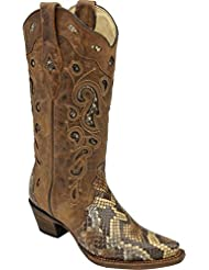 CORRAL Womens Python Inlay Cowgirl Boot Snip Toe - A2911