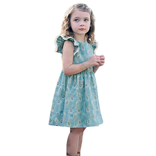 Moonker Toddler Baby Girl Kid Lace Ruffles Sleeveless Peacock Feathers Print Party Dress Outfits Clothes 1-5T (5-6 Years Old, Blue)
